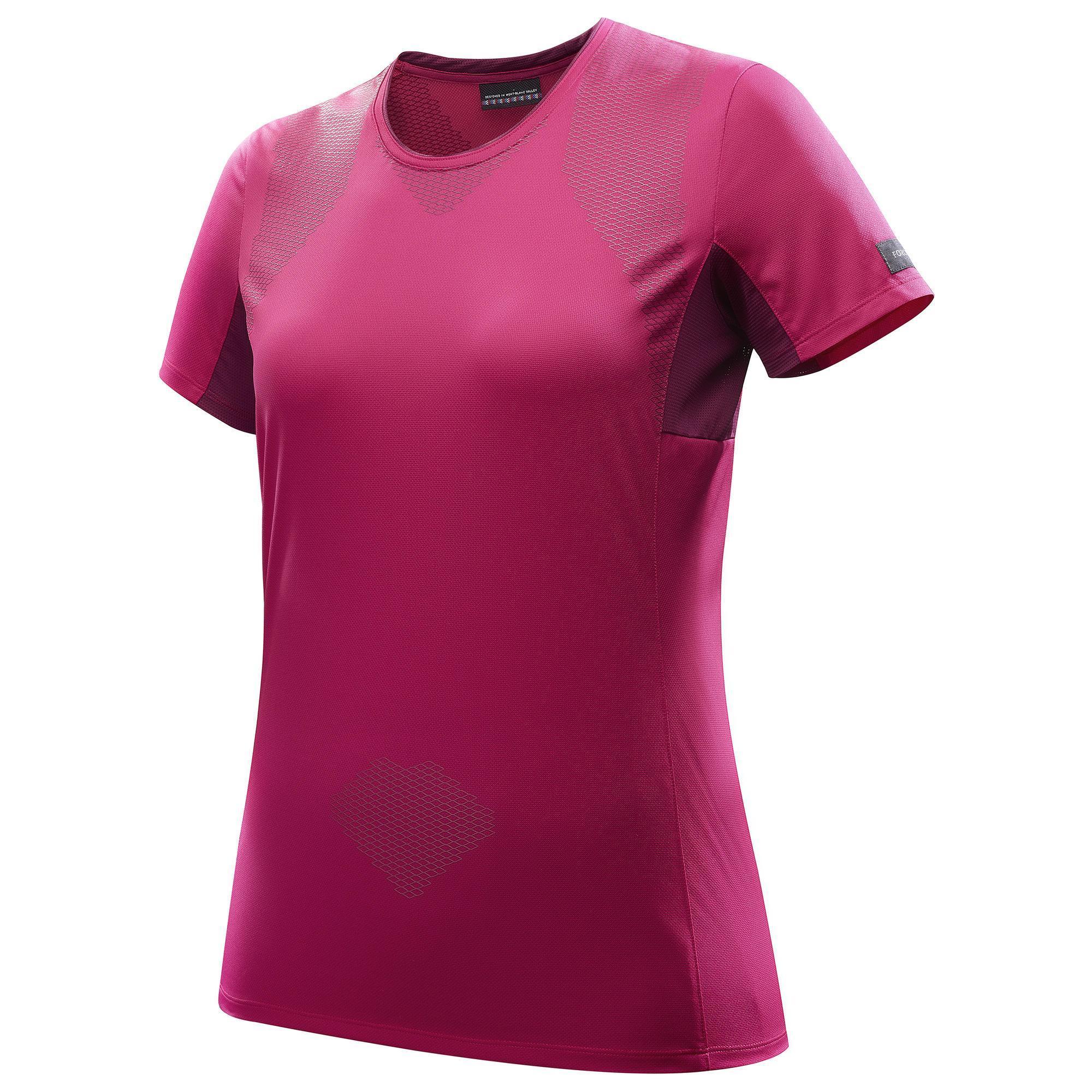 T shirt manches courtes trekking montagne trek100 femme rose forclaz