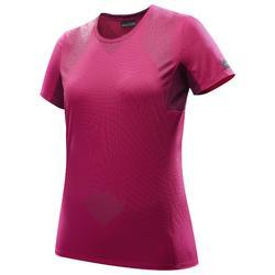 Dames T-shirt met korte mouwen voor bergtrekking Trek 100 roze