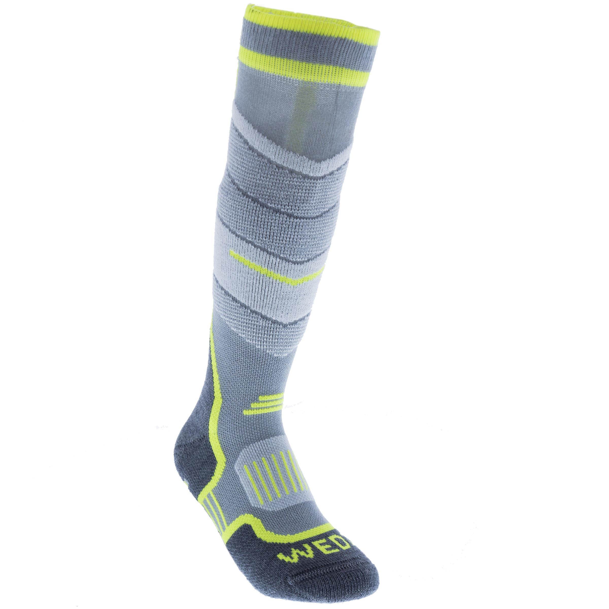 Chaussettes de ski enfant 300 grises jaunes fluo wedze