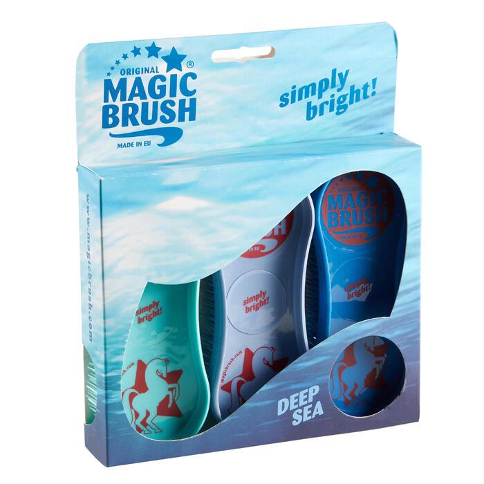 Cepillos equitación MAGIC BRUSH lote de 3 cepillos turquesa, malva y azul