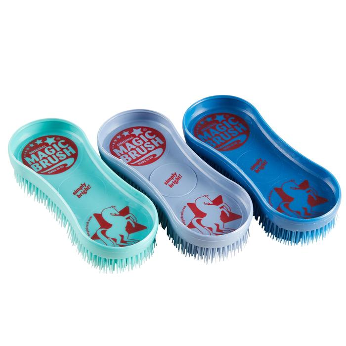 Borstels ruitersport Magic Brush set met 3 borstels (turquoise, paars en blauw)