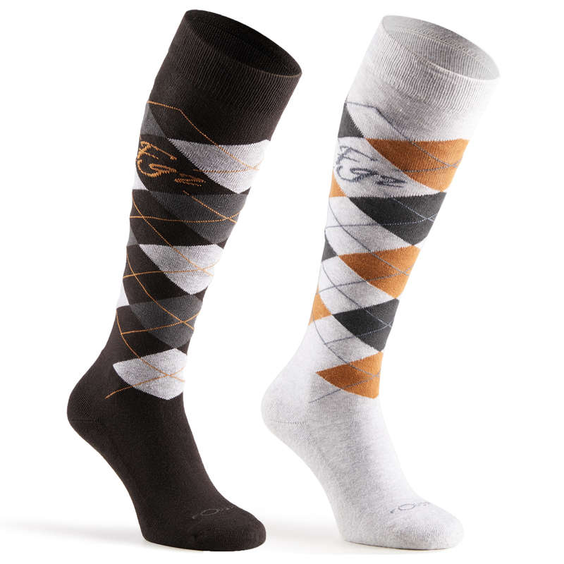 RIDING SOCKS ADULTE Horse Riding - Losanges Socks FOUGANZA - Horse Riding