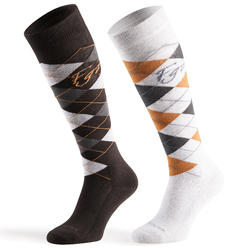 Losanges Adult Horse Riding Socks - Dark Grey/Light Grey/Camel