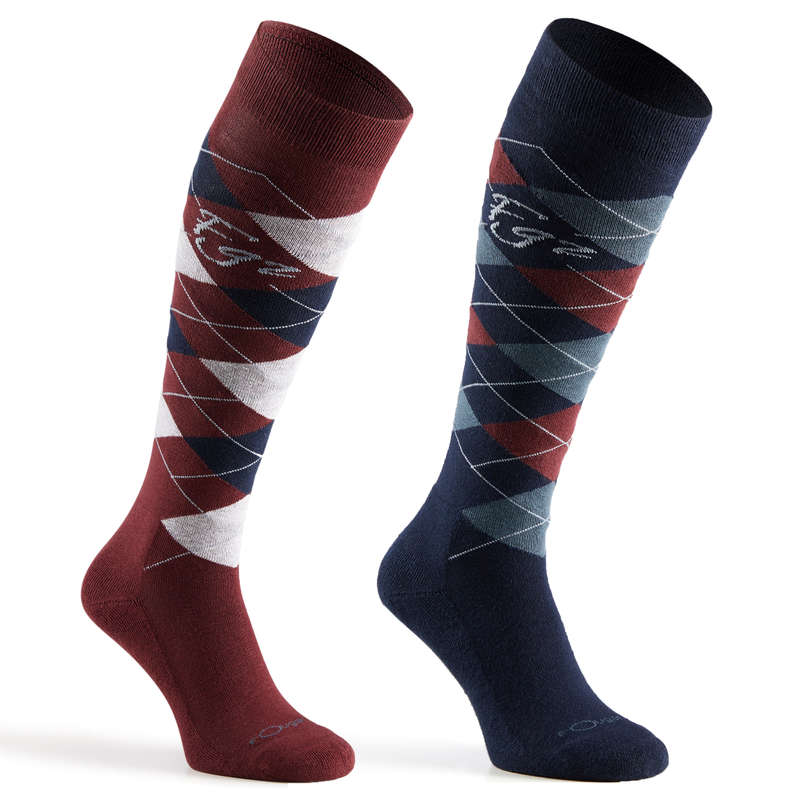 RIDING SOCKS ADULTE Horse Riding - Argyle Socks - Burgundy FOUGANZA - Horse Riding