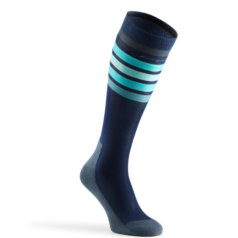 100 Adult Horse Riding Socks - Blue-toned Grey/Turquoise Stripes