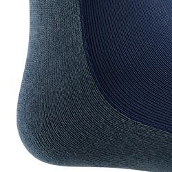 Calcetines equitación adulto 100 gris azulado/rayas turquesa