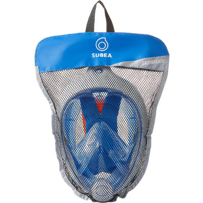 Careta de snorkel en superficie Easybreath Azul