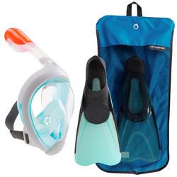 Kit de snorkel máscara Easybreath aletas azul turquesa negro