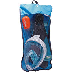 Easybreath Mask and Flippers Snorkelling Set - Turquoise Blue Black
