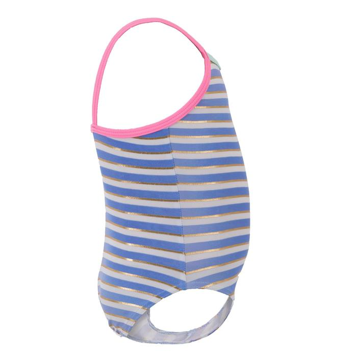 Badeanzug Baby Mädchen gestreift blau/weiß/gold