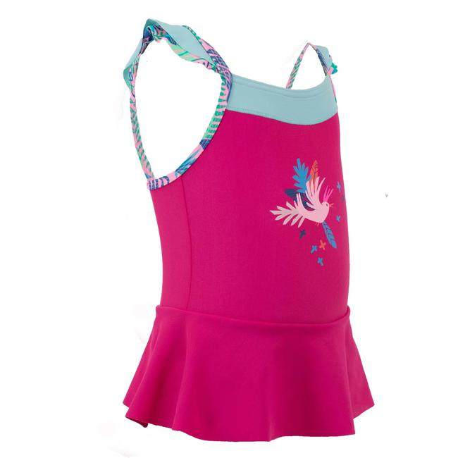 Blue baby's one-piece flowers print swimsuit with skirt