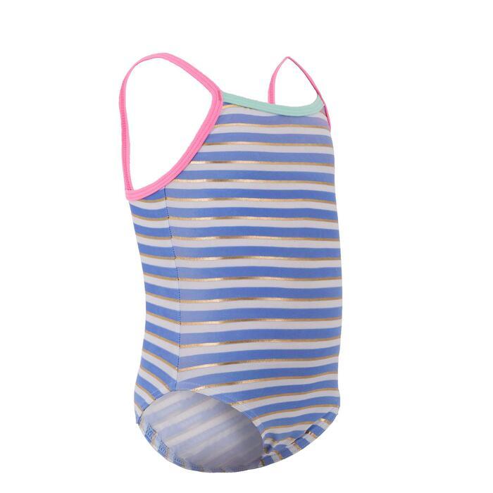 Maillot de bain bébé fille une pièce rayé bleu, blanc et or