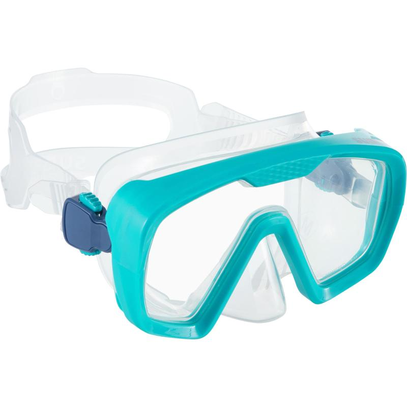 Masque de plongée bouteille SCD 100 jupe translucide et cerclage turquoise