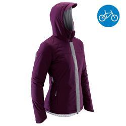 Fahrrad-Regenjacke City 900 Warm Damen pflaume