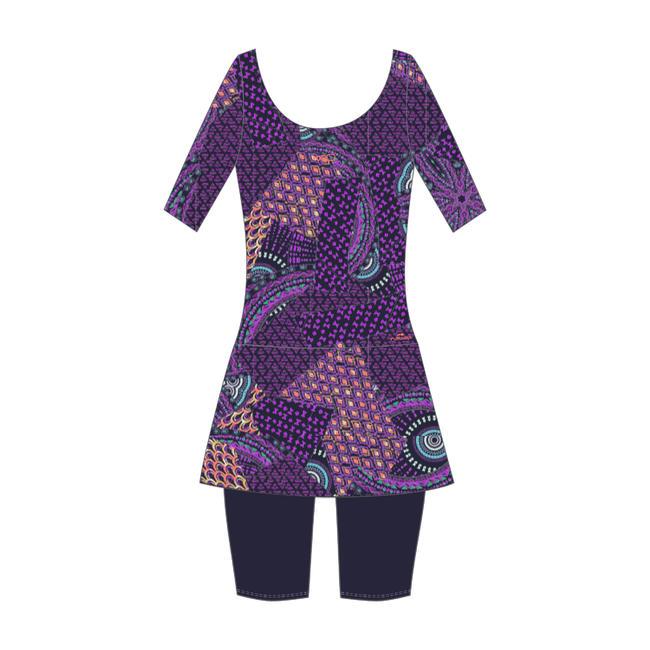 Women swimming costume half sleeved with skirt and half legging - Purple Black