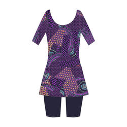 Women swimming costume half sleeved with skirt and half legging - Purple Black