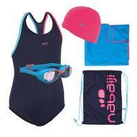 Kit Natación 100 Niña Iniciación: traje de baño, goggles, gorra, toalla, bolsa