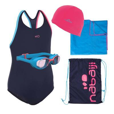 Kit completo natación para niña azul oscuro/rosado