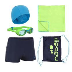 Schwimm-Set B-Active+ Jungen blau Badehose Brille Badekappe Badetuch Tasche
