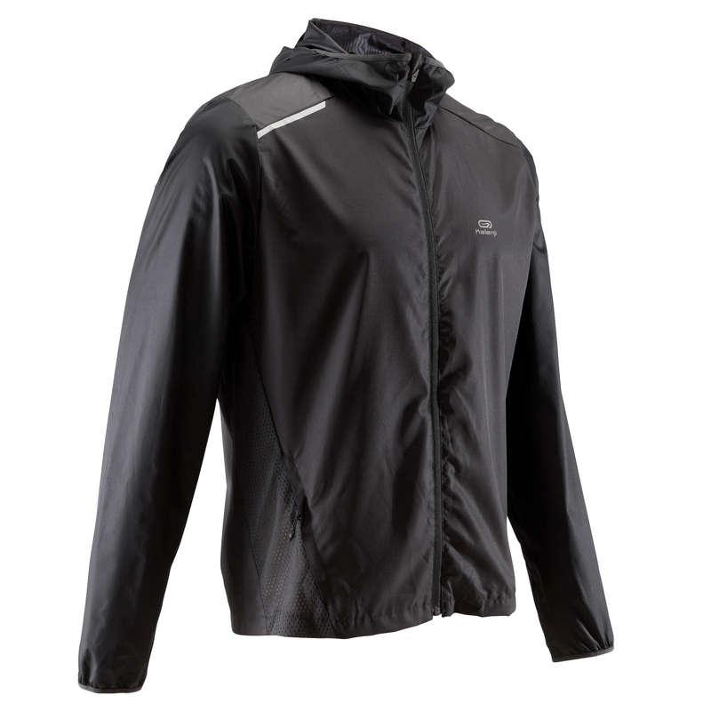 MAN JOGGING WINDY WEATHER CLOTHES Clothing - RUN WIND M JACKET HOOD BLACK KALENJI - Tops