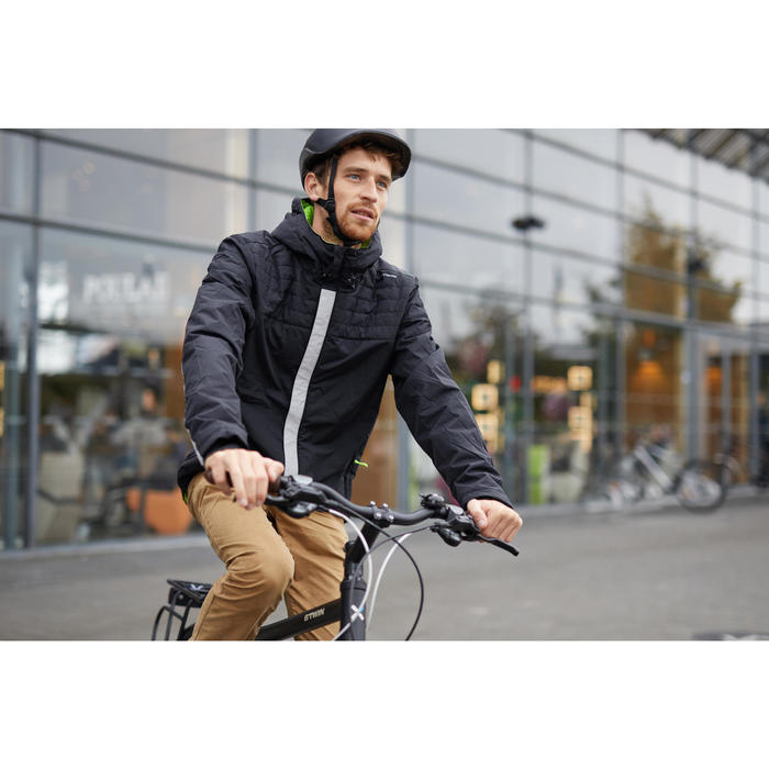 Fahrrad-Regenjacke City 900 Warm Herren schwarz