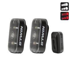USB充電夾式LED前後照明自行車燈組VIOO 500- 黑色