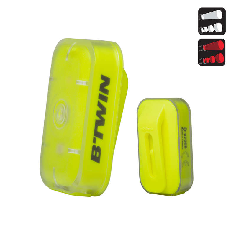 BIKE LIGHTS Cycling - CL 500 Front/Rear USB - Yellow B'TWIN - Bike Accessories