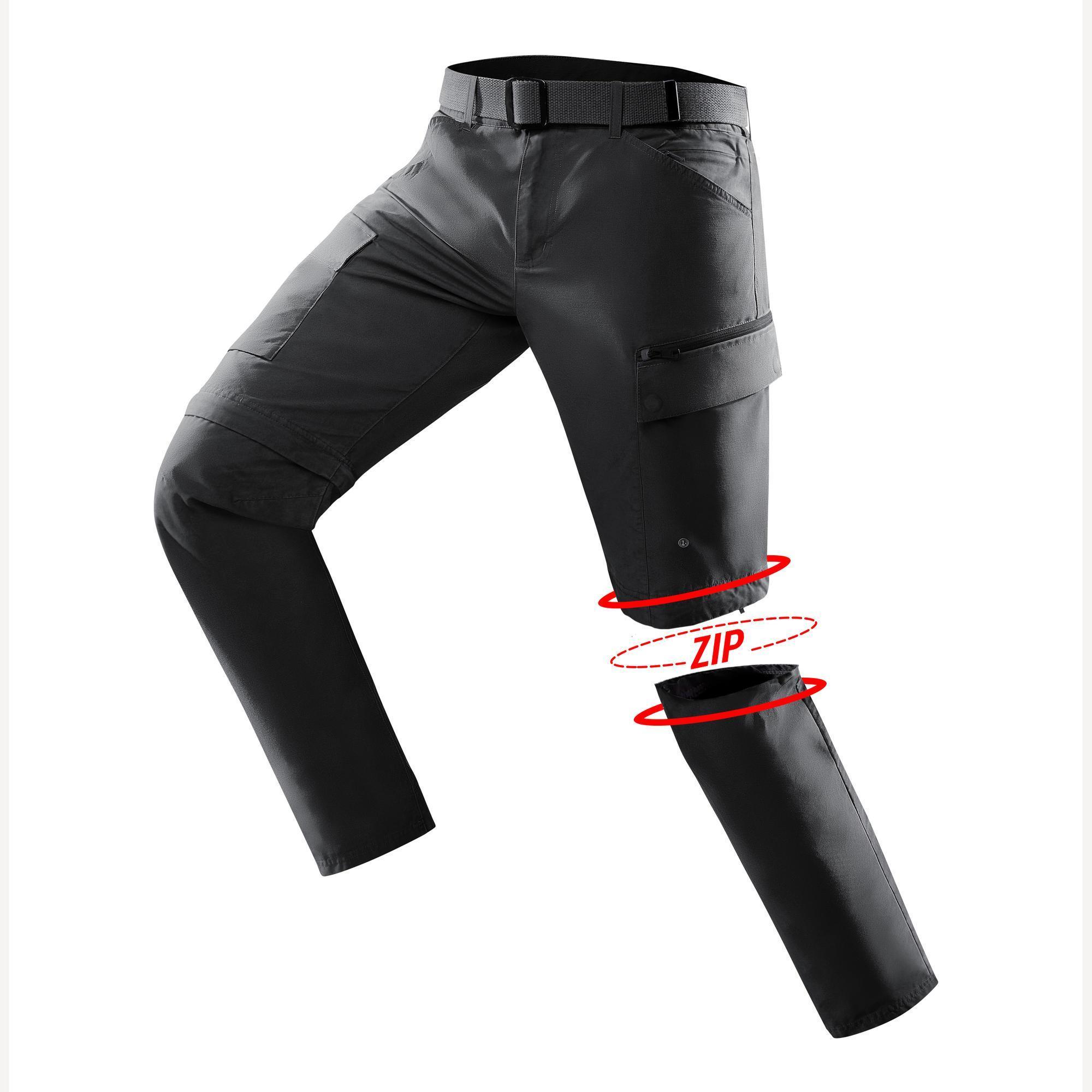 Pantalon travel500 modul homme gris fonce forclaz