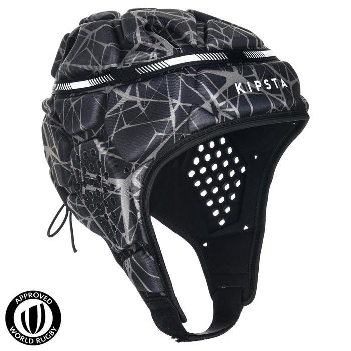 Rugby Scrum Cap Kopfschutz R500 grau/schwarz