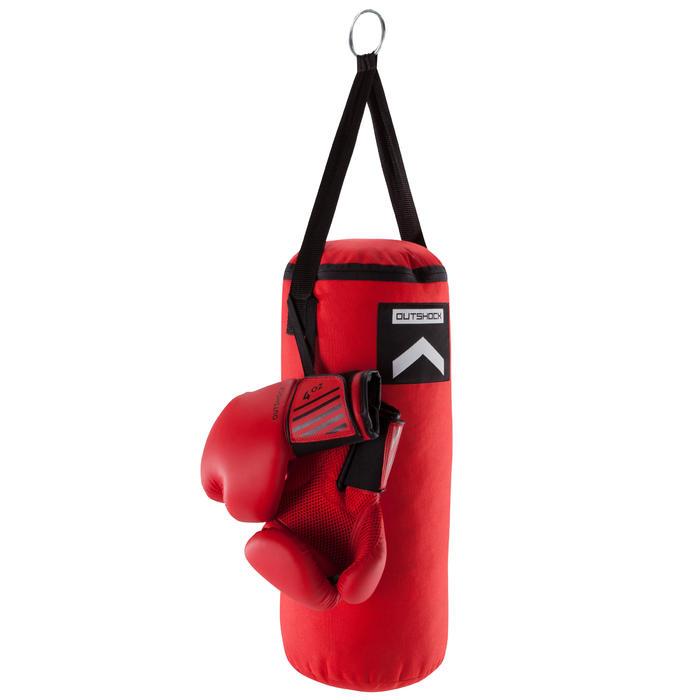 Kit Boxeo niño/Saco + guantes Outshock rojo y negro