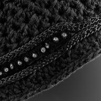 Jodinėjimo kepurė, juoda, su dirbtiniais deimantais