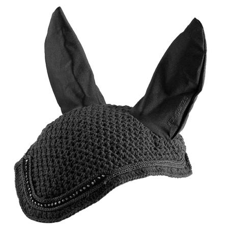 Horse Ear Net - Black Rhinestones