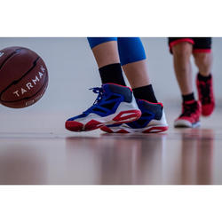 CHAUSSURES DE BASKETBALL POUR GARCON/FILLE CONFIRME(E) BLEU ROUGE SHIELD 300