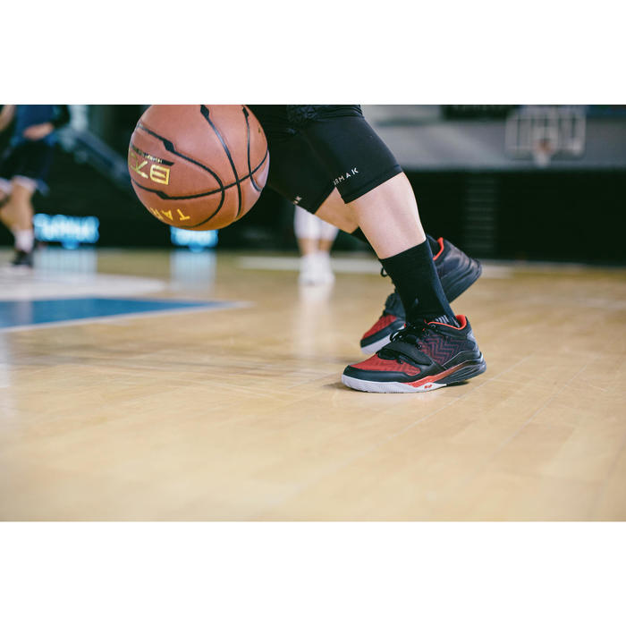 Basketbalsokken SO500 mid zwart, 2 paar
