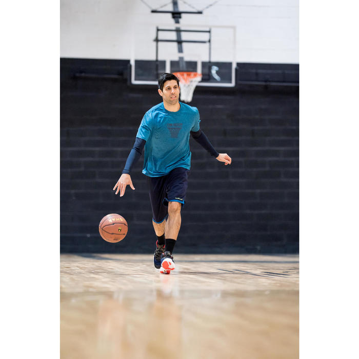 Basketbalschoenen volwassenen H/D gevorderden SC 500 mid blauw rood goud
