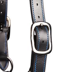 Licol cuir équitation cheval et poney PERFORMER noir/bleu
