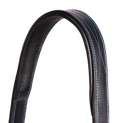Cabestro cuero equitación poni y caballo PERFORMER negro/azul