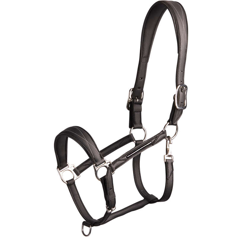 RIDING HALTERS/LEADS Horse Riding - 500 Halter - Black FOUGANZA - Saddlery and Tack