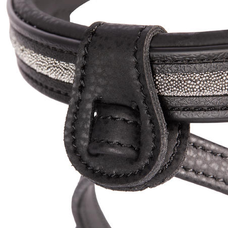 500 Shinny Horse Riding Bridle + Reins For Horse - Black