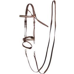Cabezada + Riendas equitación 500 PRINT marrón - talla caballo