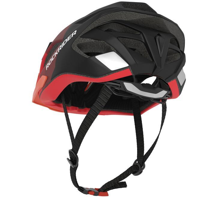 Fahrradhelm MTB ST 500 schwarz/rot