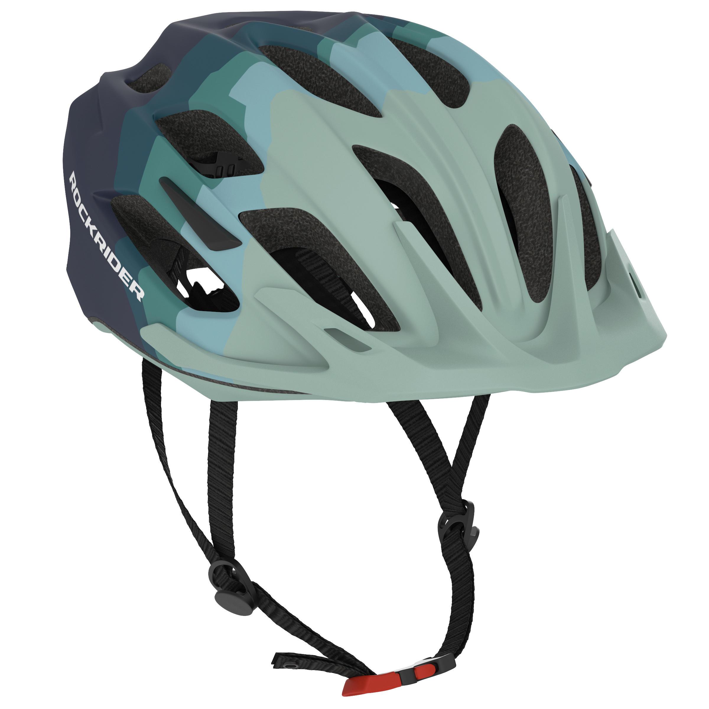 Damen Rockrider Fahrradhelm MTB ST 500 Damen blau/grün | 03608409856180