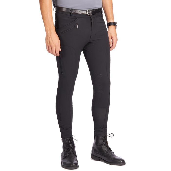 Pantalón Equitación Fouganza 700 Hombre Negro Badanas de Silicona
