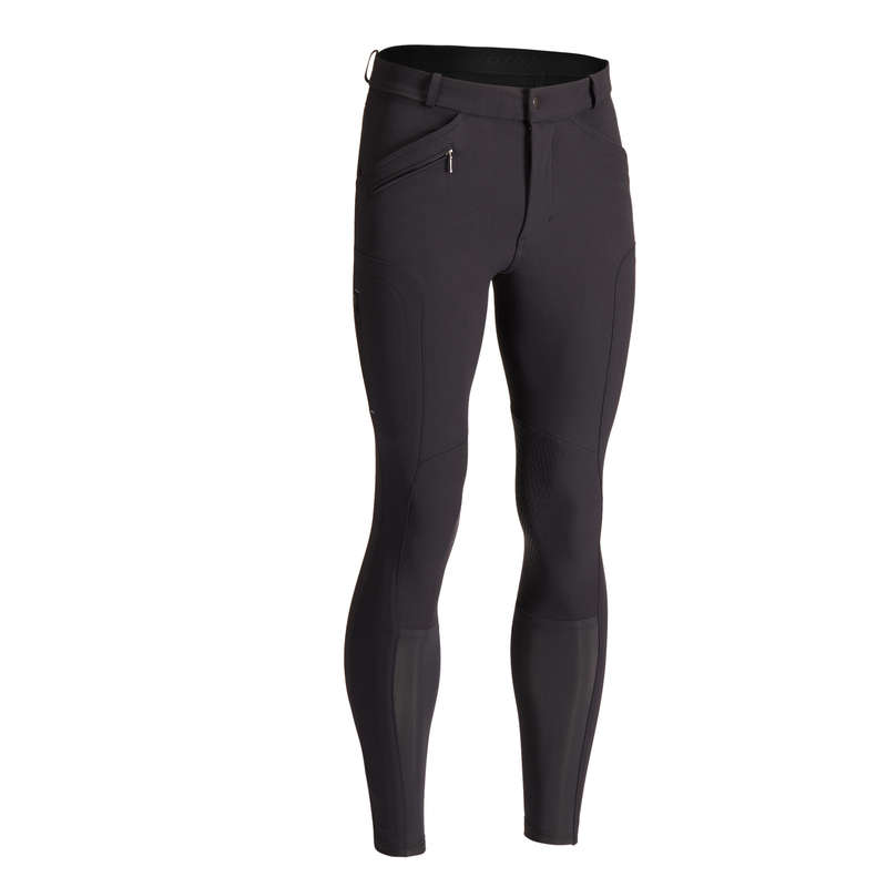 MAN RIDING WEAR Horse Riding - 700 Jodhpurs - Black FOUGANZA - Horse Riding Clothes