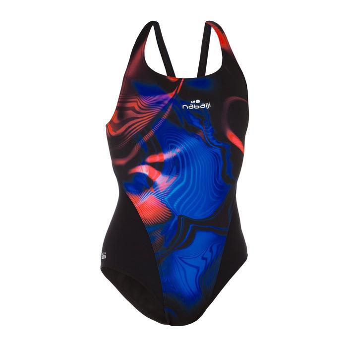 Bañador de natación una pieza mujer resistente al cloro Kamiye oil negro