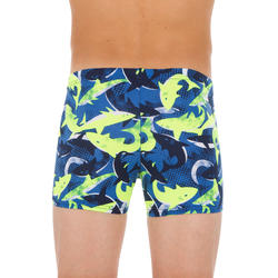 500 FIT BOY'S BOXER SWIMMING SHORTS - ALLSHARK YELLOW BLUE