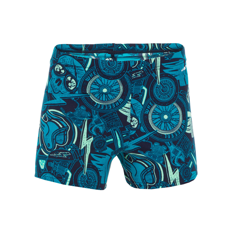 Nabaiji Zwemboxer voor jongens 500 Fit All Pins groen blauw