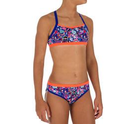 Bikini Deportivo Niña Piscina Natación Nabaiji Jade Azul/Rojo Fluorescente