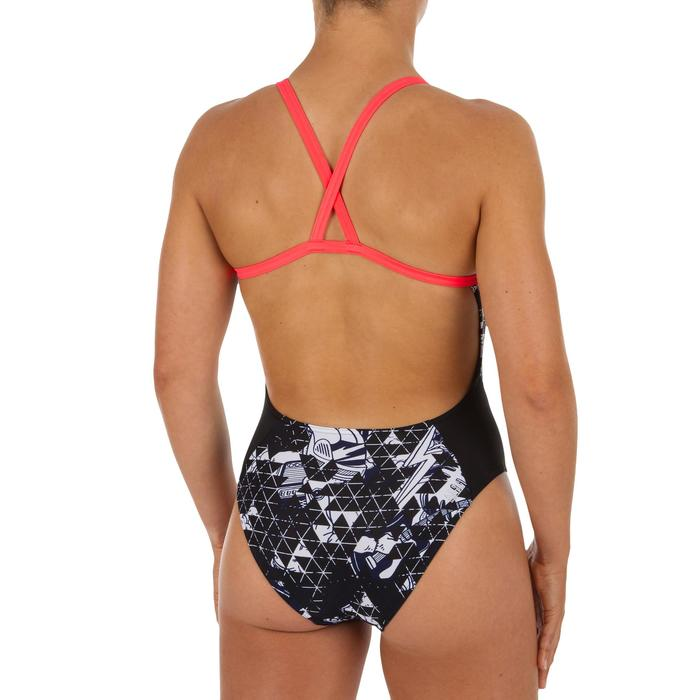 Bañador Natación Piscina Nabaiji Lexa Mujer Forma Espalda X Estampado Negro Gris
