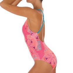 Bañador de natación una pieza mujer Riana Eve rojo coral blanco